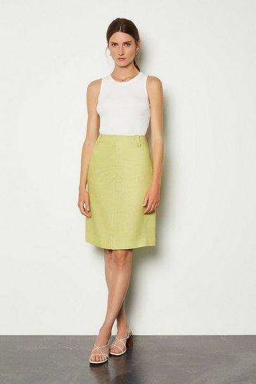 Lime Linen A-Line Midi Skirt