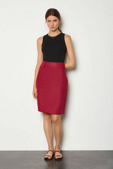 Spice Linen A-Line Midi Skirt