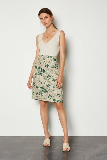 Floral Printed Linen Mix A-Line Midi Skirt