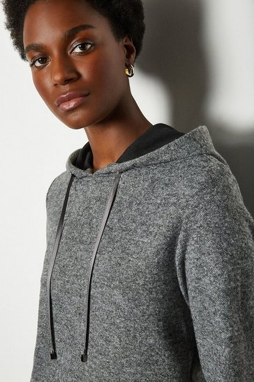 Grey Soft Touch Hooded Top