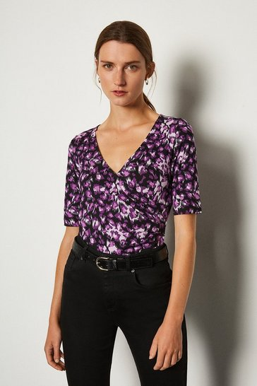 Pink Printed Wrap Front Viscose Top