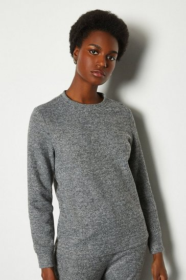 Grey Soft Touch Lounge Crew Long Sleeve Top