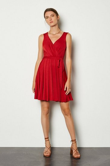 Red Cross Over Belted Skater Dress
