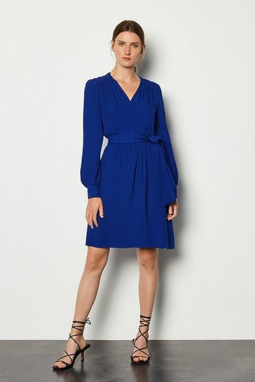 Blue Long Sleeve Short Wrap Dress