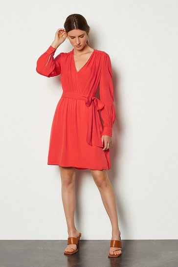 Coral Long Sleeve Short Wrap Dress