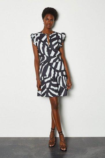 Zebra Batik Print Sleeveless Short Dress