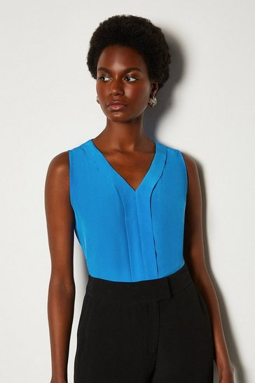 Blue Silk V Neck Sleeveless Blouse