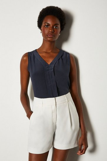 Navy Silk V Neck Sleeveless Blouse