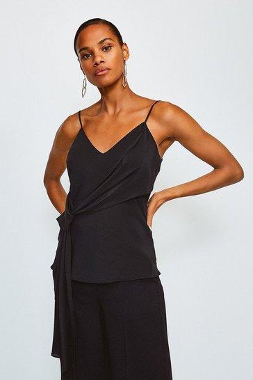 Black Silk Tie Front Cami