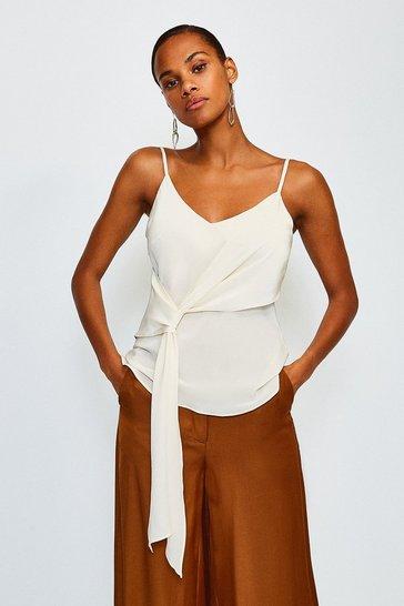Ivory Silk Tie Front Cami