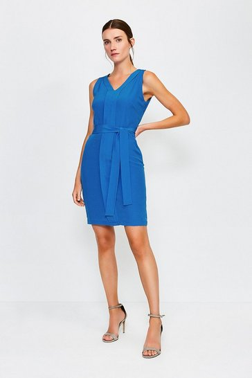 Blue Silk Tie Waist V-Neck Short Dress