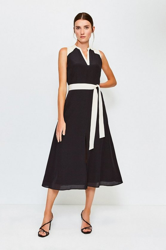Black Silk Sleeveless Long Dress