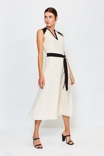 Ivory Silk Sleeveless Long Dress