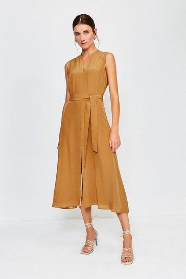 Tan Silk Sleeveless Long Dress