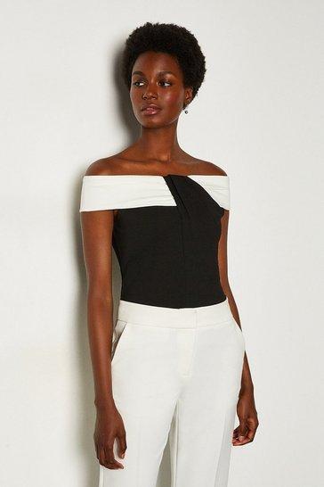 Black Ponte Bardot Contrast Top