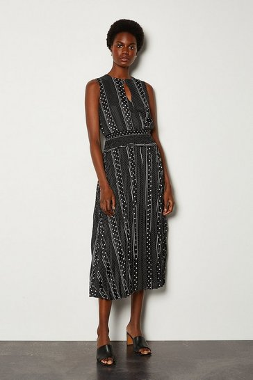 Black Mixed Spot Wrap Front Printed Dress