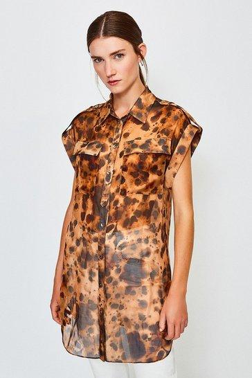 Leopard SilK Tie Waist Sleeveless Shirt