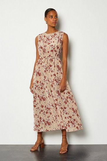 Natural Printed Tie Waist Dress