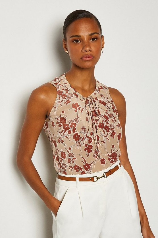 Natural Printed Tie Front Shell Top