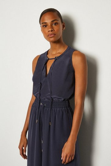 Navy Tie Front Shell Top