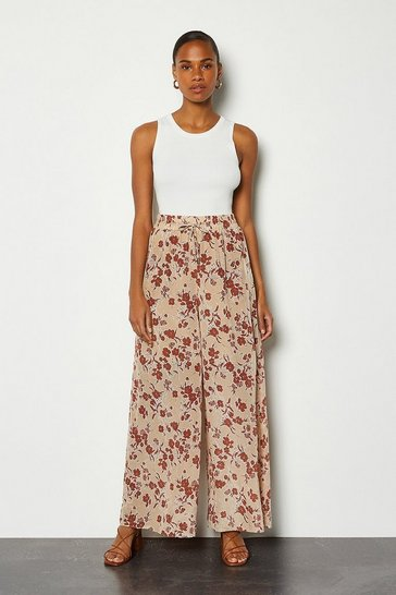 Natural Printed Palazzo Wide Leg Trouser