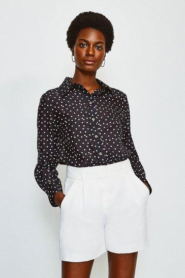 Black Silk Spot Print Long Sleeve Shirt