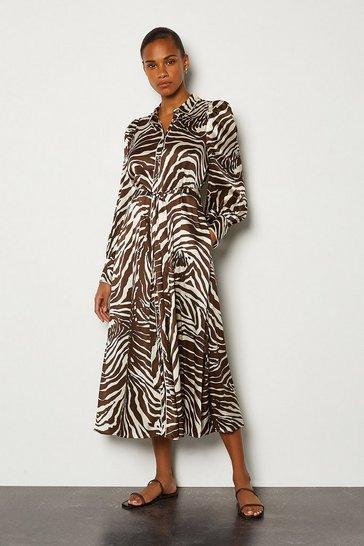 Silk Zebra Print Long Button Up Dress