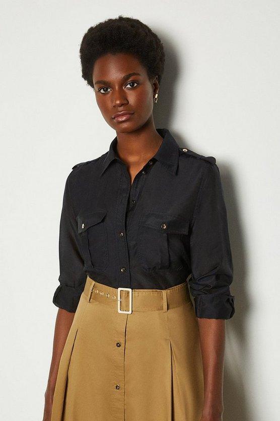 Navy Silk Cotton Shirt With Pockets