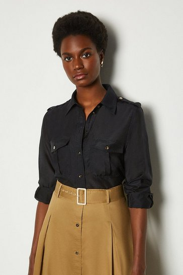 Navy Silk Cotton Shirt With Pockets