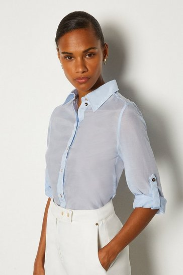 Pale blue Plain Silk Cotton Shirt
