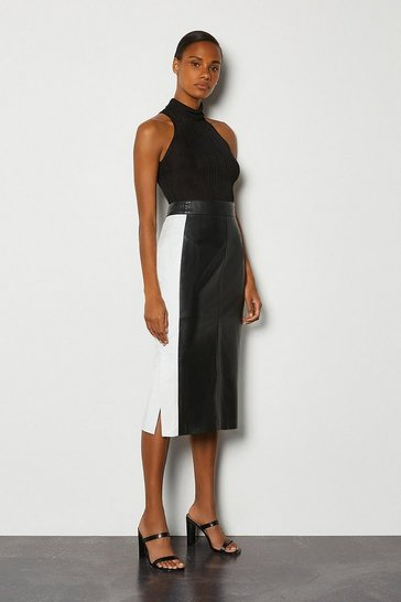 Blackwhite Colourblock Leather Pencil Skirt