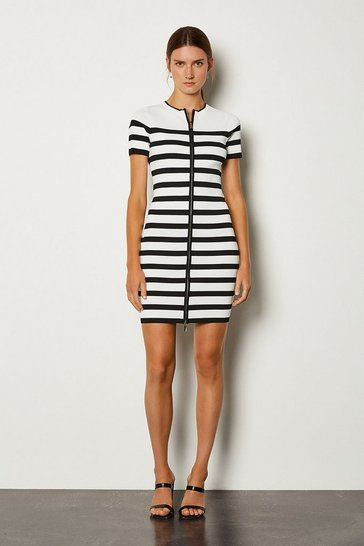 Blackwhite Nautical Zip Through Knit Dress