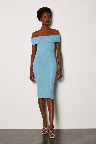 Pale blue Bardot Knit Dress