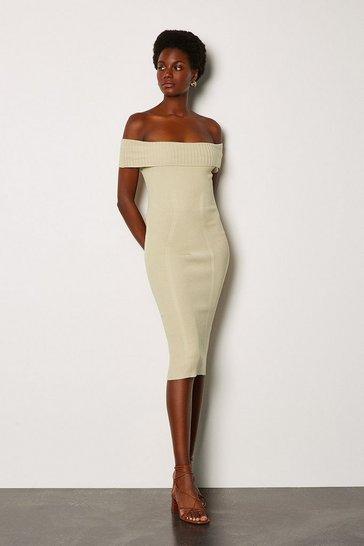 Stone Bardot Knit Dress