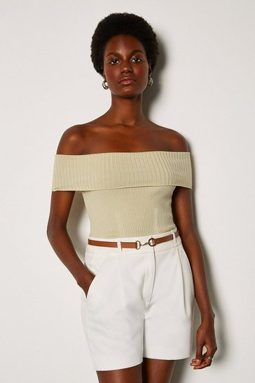 Stone Bardot Knit Top