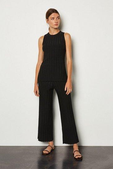 Black Wide Rib Knit Trouser