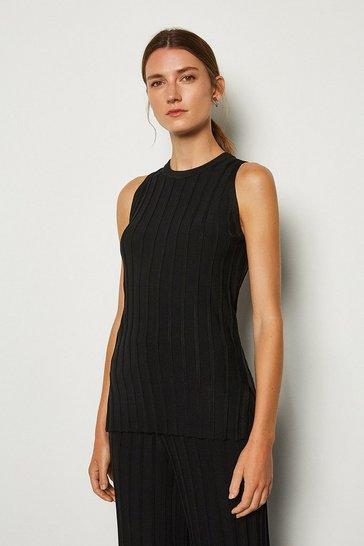 Black Wide Rib Knit Sleeveless Top