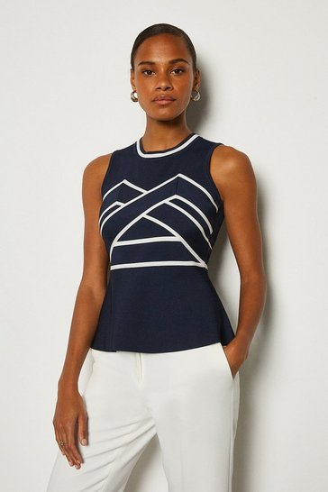 Navy Bold Contrast Stripe Bandage Top