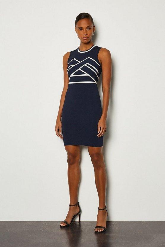 Navy Sleeveless Bold Contrast Stripe Bandage Dress