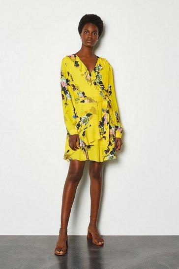 Yellow Wrap Front Long Sleeve Mini Dress