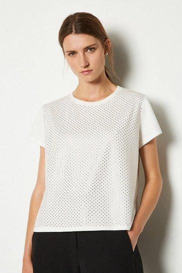 Ivory Diamante Hotfix Detail T-Shirt