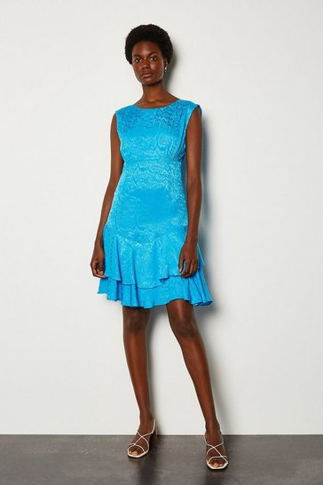 Blue Animal Jacquard Short Dress