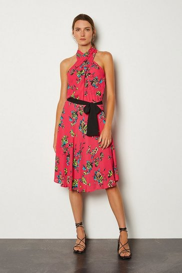 Pink Floral Halter Tie Waist Dress