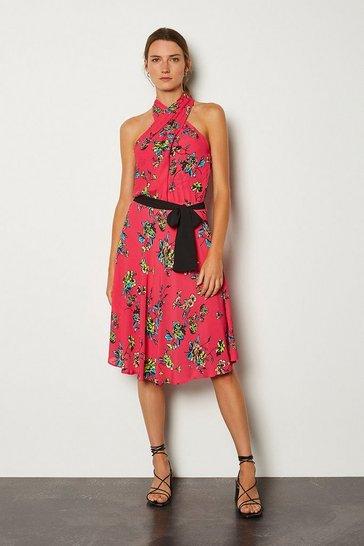 Pink Floral Halter Tie Waist Dress
