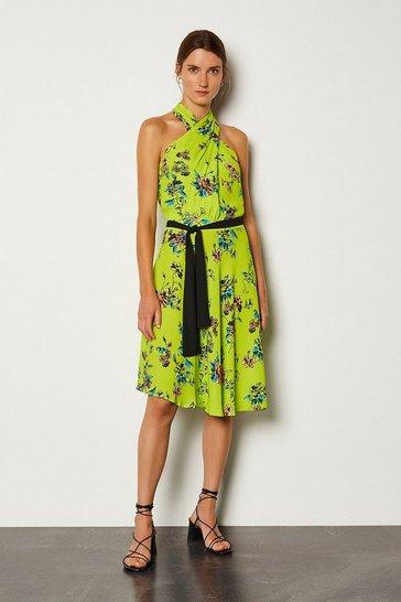 Yellow Floral Halter Tie Waist Dress