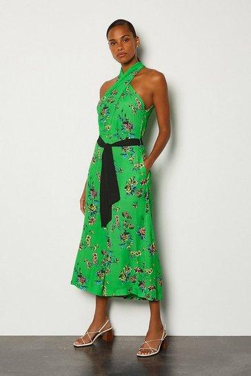 Green Halter Floral Tie Waist Jumpsuit