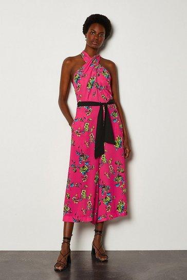 Pink Halter Floral Tie Waist Jumpsuit