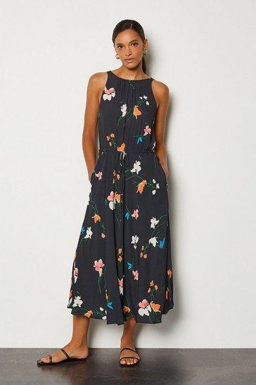 Multi Printed Drawstring Midi Dress