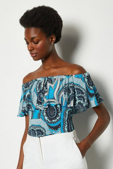 Blue Printed Bardot Top With Tie Detail