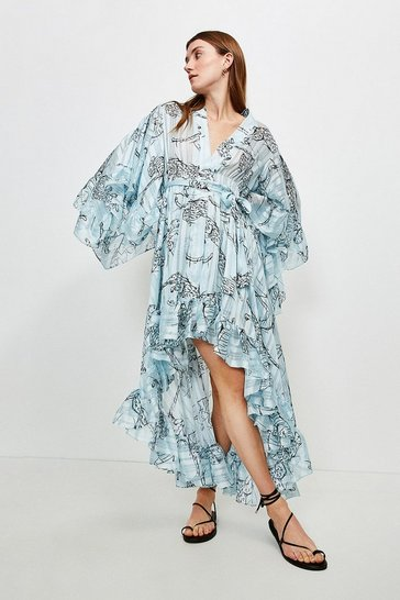Animal Fluted Sleeve Maxi Dress
